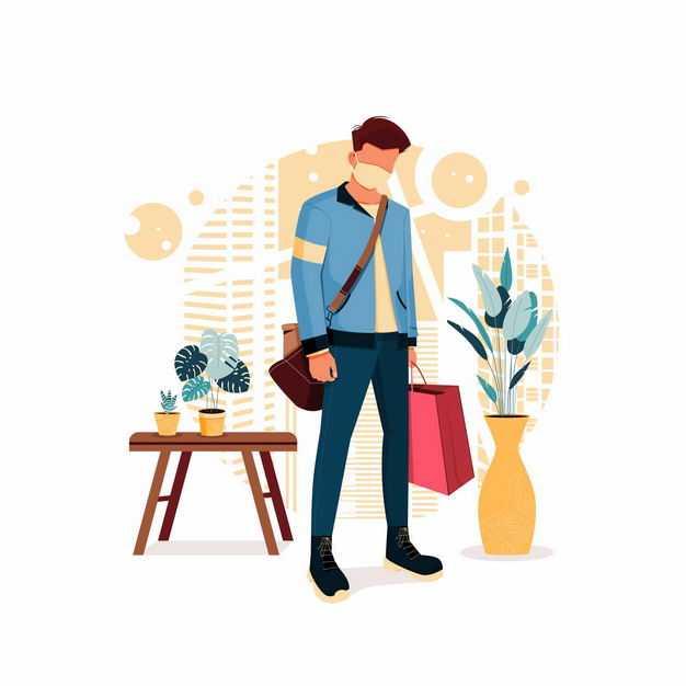 戴着口罩的男人陪老婆逛街负责拎袋子手绘插画9961323矢量图片免抠素材