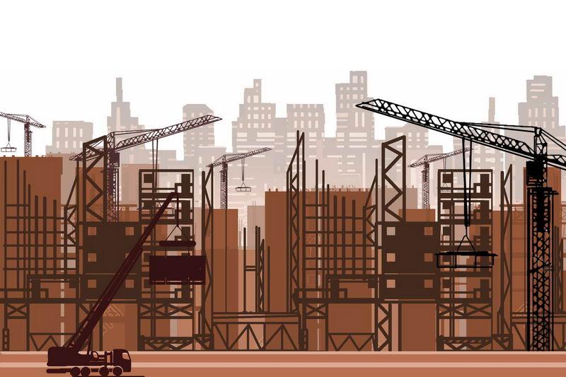 忙碌的城市建设工地和远景城市建筑棕色剪影5378746图片素材 建筑装修-第1张