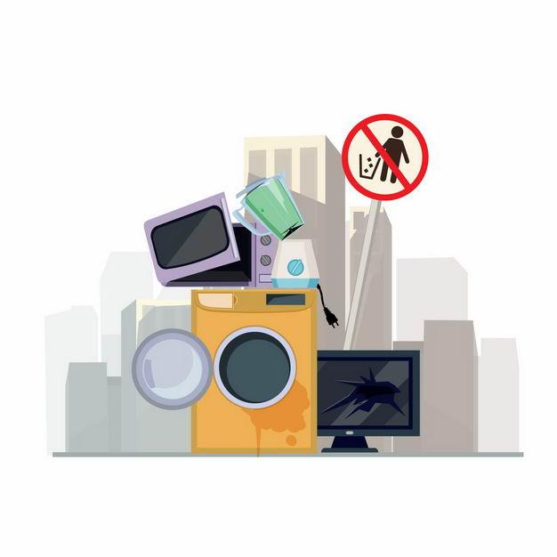 废旧洗衣机电视机微波炉等电子垃圾1255816矢量图片免抠素材 生活素材-第1张