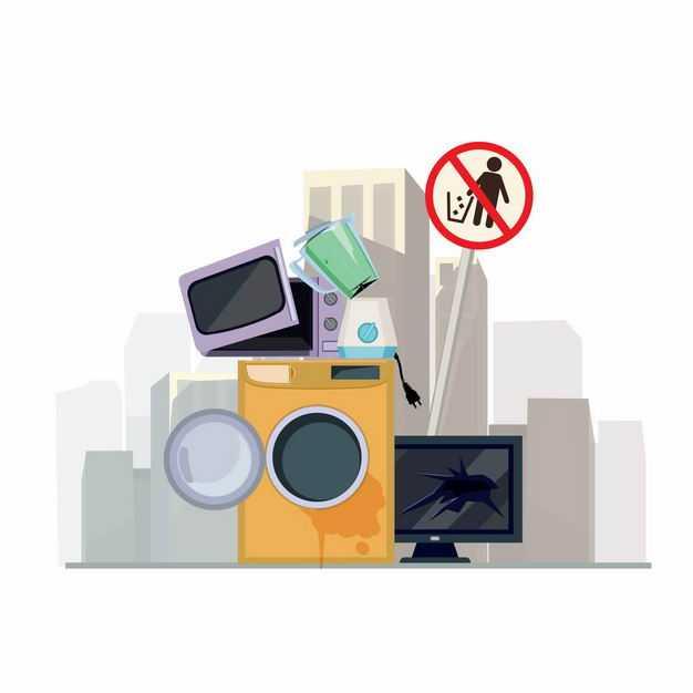 废旧洗衣机电视机微波炉等电子垃圾1255816矢量图片免抠素材