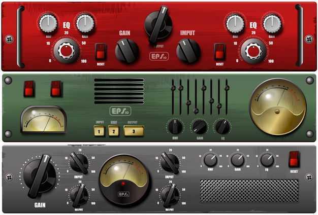 3款复古风格老式收音机电台控制面板正面8883010矢量图片免抠素材