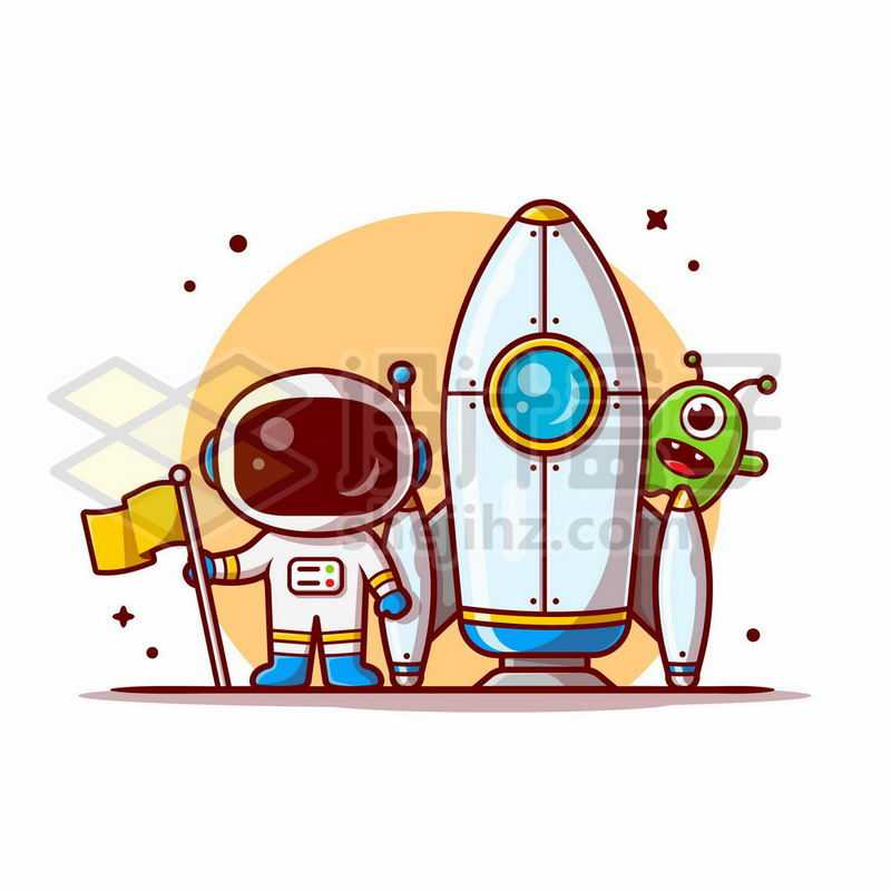 MBE风格卡通宇航员和火箭探索宇宙9299842矢量图片免抠素材