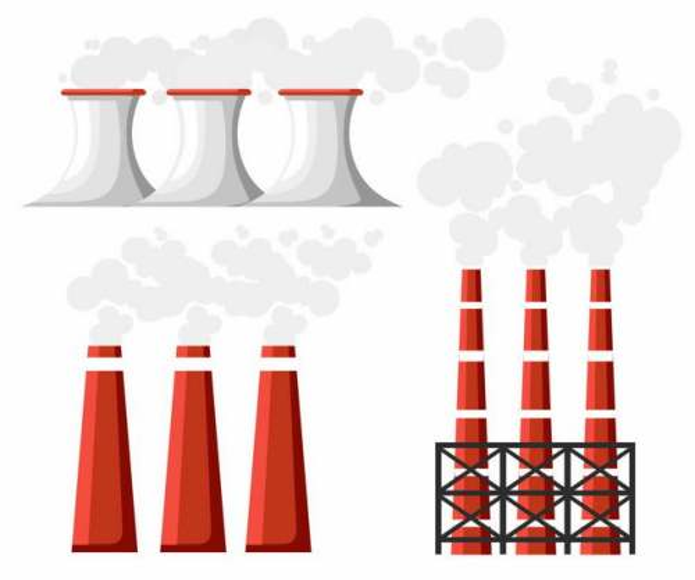 扁平化风格冒烟的发电厂冷却塔和烟囱4451721矢量图片免抠素材