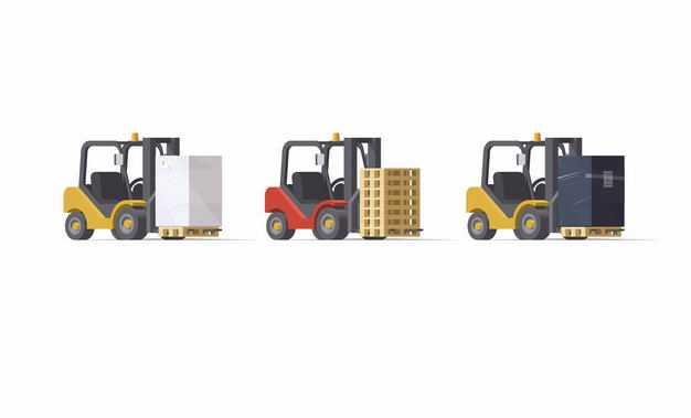 3辆叉车正在搬运货物快递物流行业3517156矢量图片免抠素材