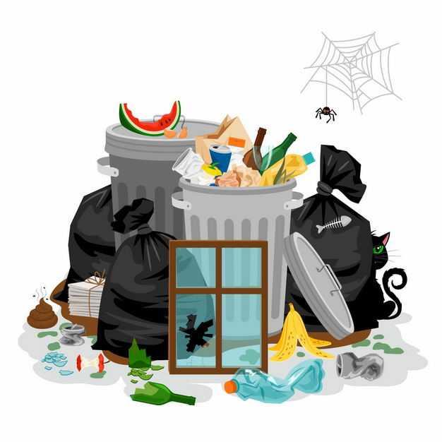 脏乱差的垃圾桶和各种垃圾以及蜘蛛网5517311矢量图片免抠素材