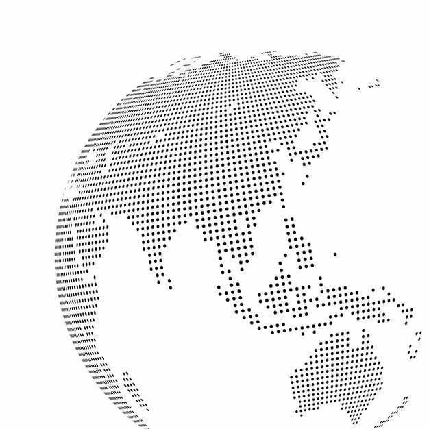 黑色小圆点组成的地球仪世界地图亚洲地区2626640矢量图片免抠素材