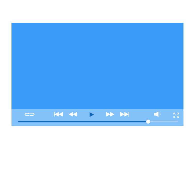 扁平化风格蓝色电脑视频播放器界面设计6018928图片素材 UI-第1张