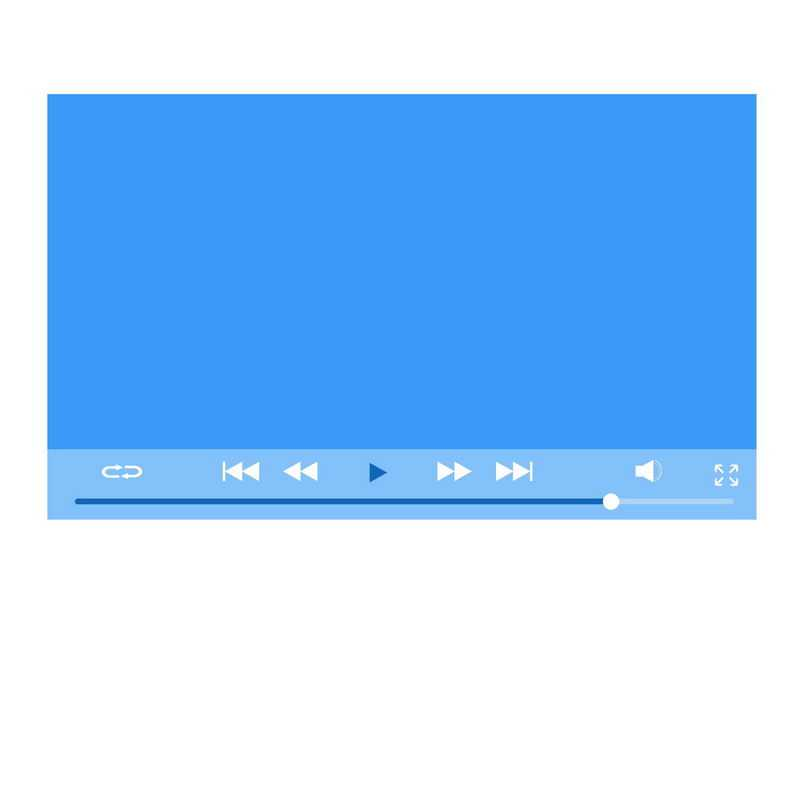 扁平化风格蓝色电脑视频播放器界面设计6018928图片素材