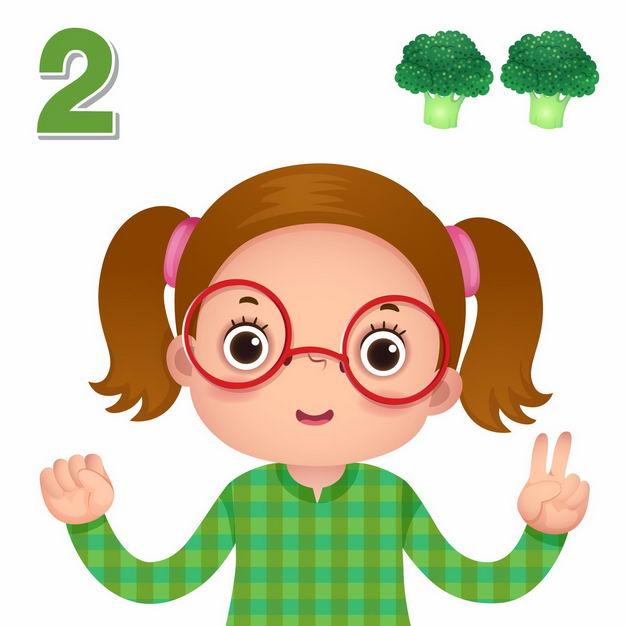 卡通小女孩数数字2幼儿园数学教学数字手势2838300矢量图片免抠素材 教育文化-第1张
