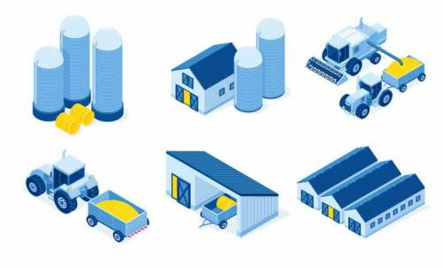 6款2.5D风格粮食储存粮仓农场收割机拖拉机等9489776矢量图片免抠素材
