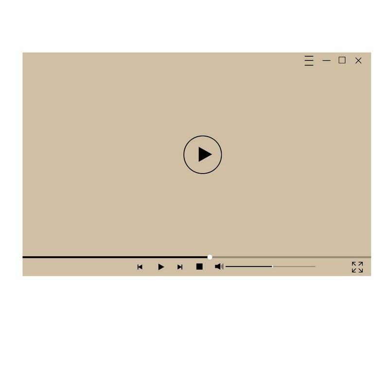 棕色电脑视频播放器界面设计1355988图片素材 UI-第1张
