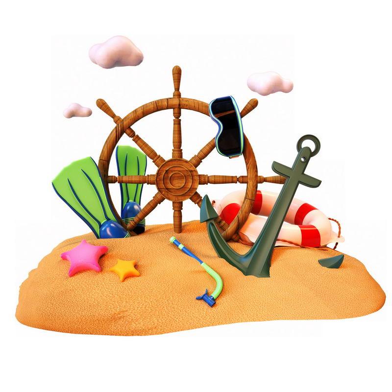 黄灿灿沙滩上的各种热带海岛旅游冒险元素1025562图片素材 休闲娱乐-第1张