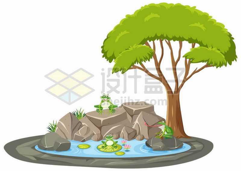 池塘旁的大树和青蛙9109834矢量图片免抠素材