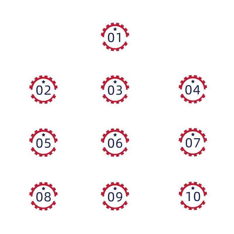 红色齿轮工业风格五一劳动节数字序号标签6579861图片素材