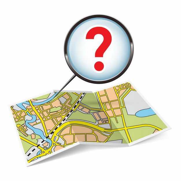 展开的地图和放大镜里的问号象征了地图导航8337573矢量图片免抠素材