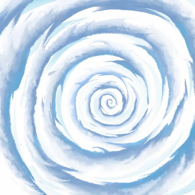 蓝色卡通漫画风格螺旋状漩涡云手绘插画2271576图片素材 装饰素材-第1张