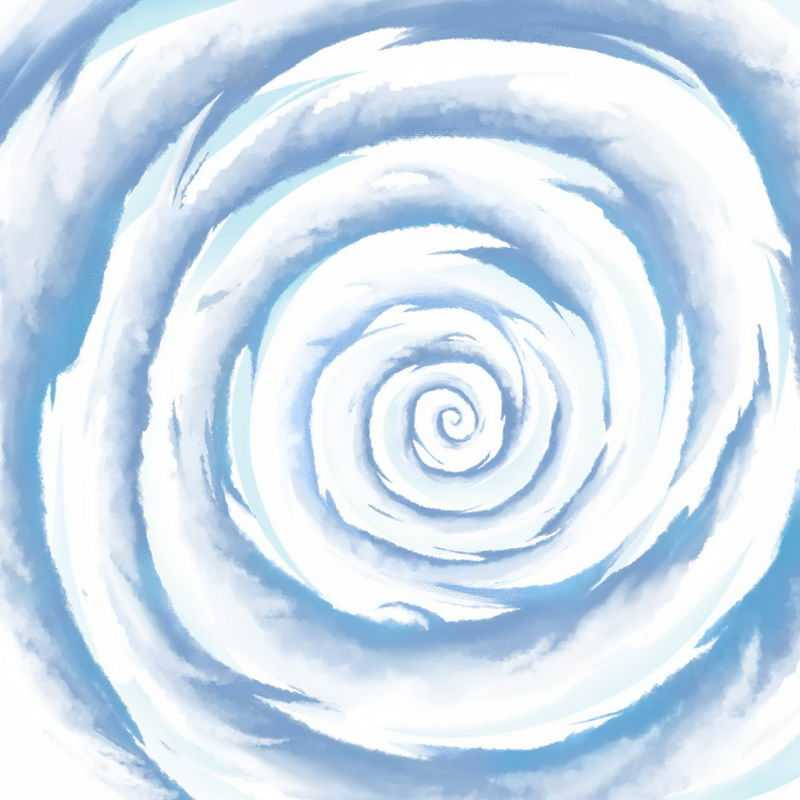 蓝色卡通漫画风格螺旋状漩涡云手绘插画2271576图片素材