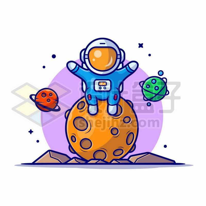 MBE风格卡通宇航员坐在星球上探索宇宙6131628矢量图片免抠素材