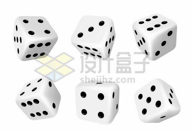 6个不同角度的骰子色子2617982矢量图片免抠素材