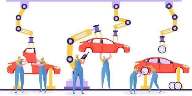 汽车工厂里的汽车生产制造流水线1232830矢量图片免抠素材