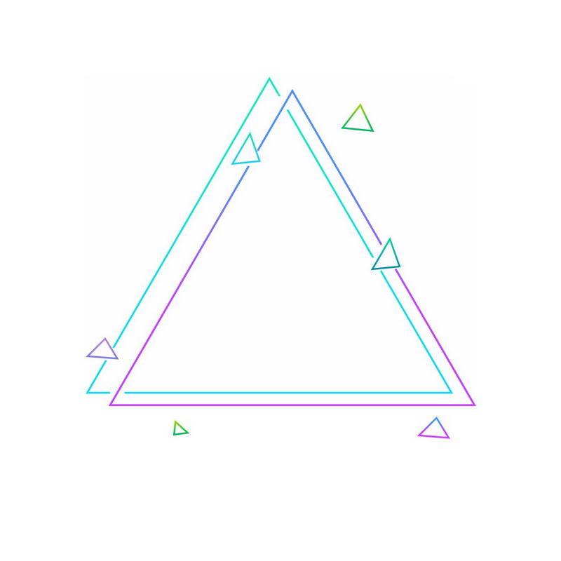 绿色紫色双三角形图案7057564免抠图片素材 线条形状-第1张