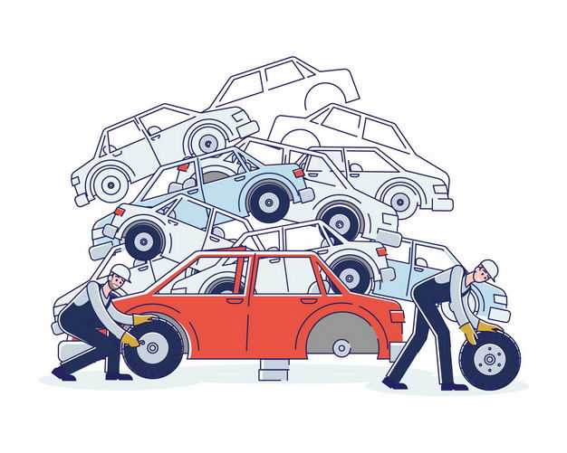 工人正在拆解报废汽车8936247矢量图片免抠素材
