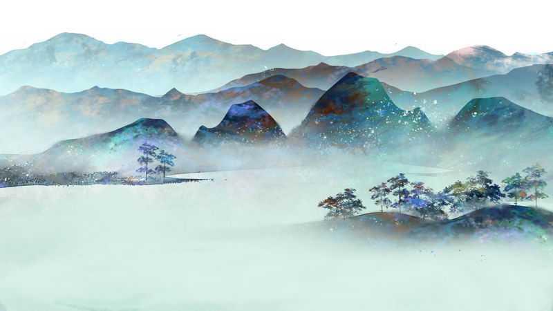 中国风彩色水墨画风景彩绘插画7159000png图片免抠素材