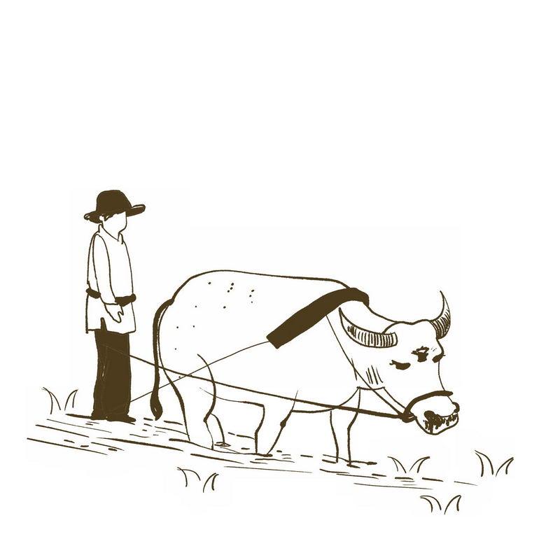 农民驾驭耕牛正在耕田手绘插画风格3351537免抠图片素材 工业农业-第1张
