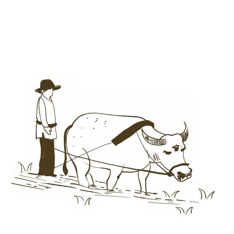 农民驾驭耕牛正在耕田手绘插画风格3351537免抠图片素材