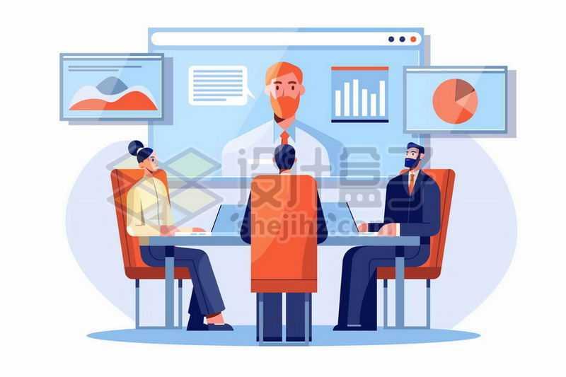 扁平插画风格正在开远程会议网络会议的商务人士8780451矢量图片免抠素材