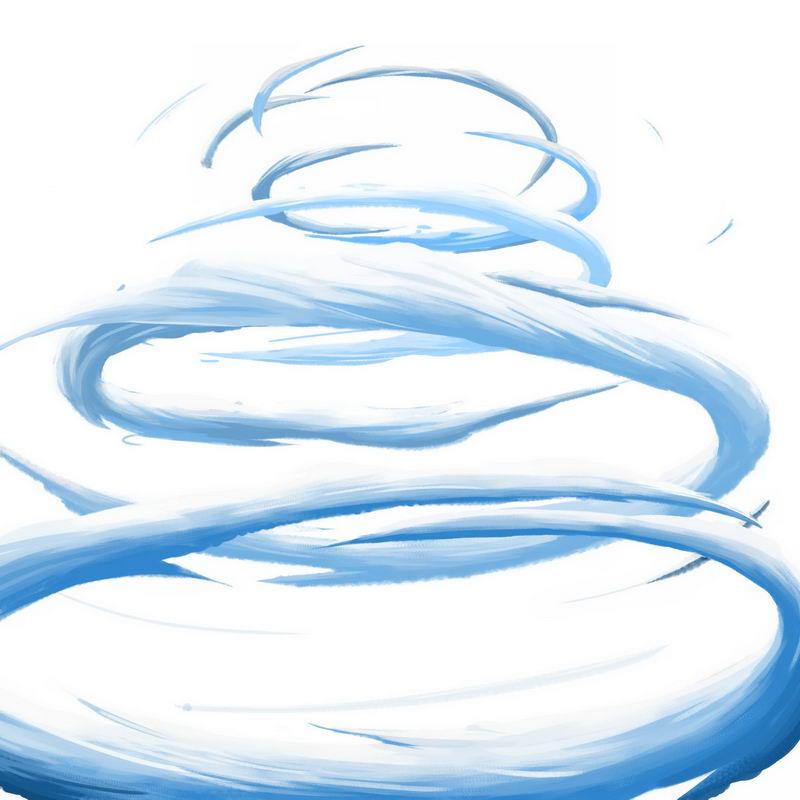 蓝色卡通漫画风格螺旋上升的漩涡云手绘插画8174008图片素材 装饰素材-第1张