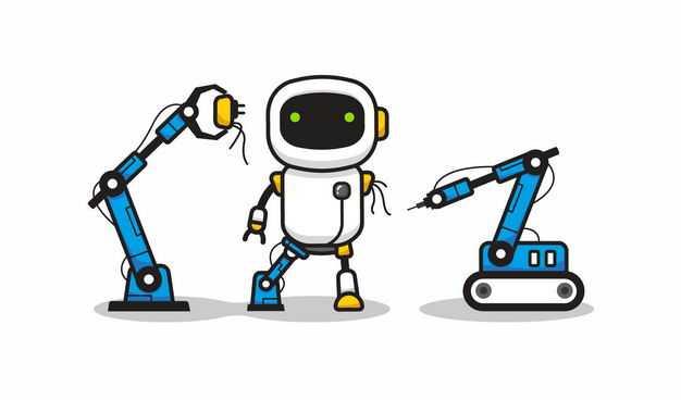 2个卡通工业机械手臂正在维修小机器人4893892矢量图片免抠素材