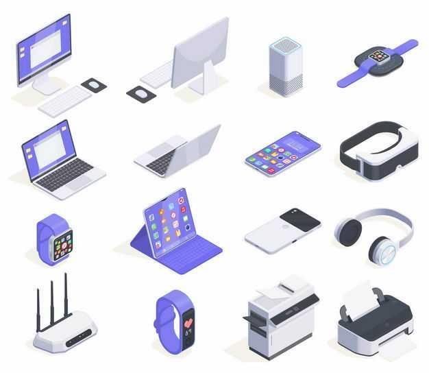 各种2.5D风格的台式机智能音箱手表笔记本手机路由器打印机等办公设备5685581矢量图片免抠素材