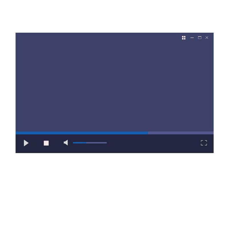 黑色蓝色扁平化风格电脑视频播放器界面设计6105365图片素材 UI-第1张
