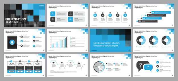 蓝色商务风格信息图表PPT模板1763176矢量图片免抠素材