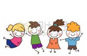 4个跳起来的卡通小孩小朋友儿童节手绘插画3084107免抠图片素材