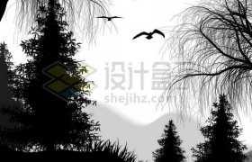 远山森林深处和柳树飞鸟剪影9627717免抠图片素材