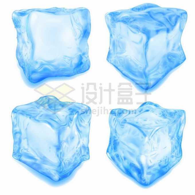 4款逼真的蓝色冰块碎冰方块4094829矢量图片免抠素材