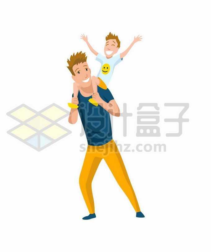 卡通男孩骑在爸爸脖子上肩膀上开心玩耍父亲节父子情深4421971矢量图片免抠素材