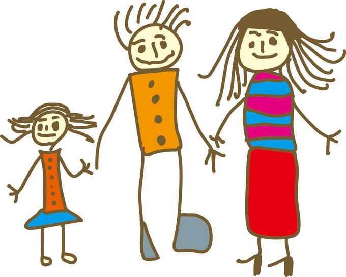 爸爸妈妈和我快乐的一家人儿童涂鸦绘画2527046png免抠图片素材