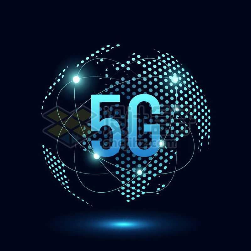 蓝色发光效果蓝色圆点组成的地球背景和高科技风格5G通信技术7837885免抠图片素材