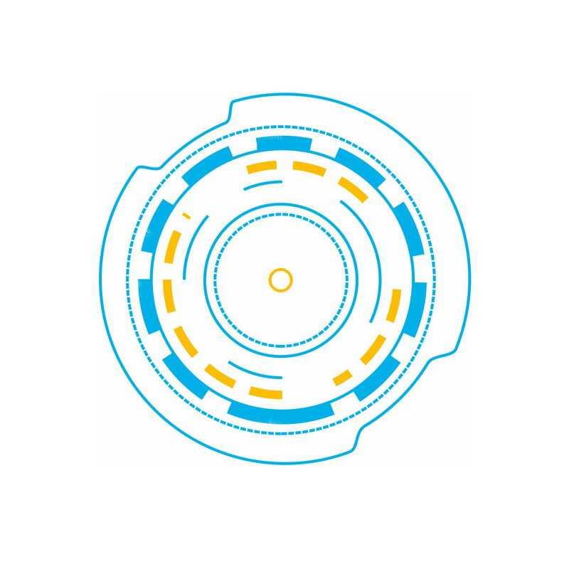 蓝色黄色科技风格线条线段圆形装饰9837940免抠图片素材