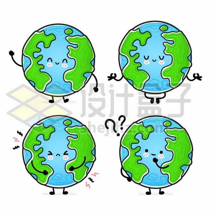 4款超可爱的卡通地球手绘儿童插画6074537矢量图片免抠素材