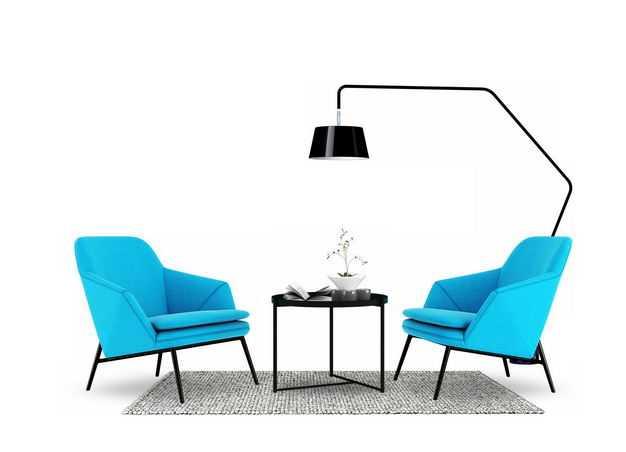 两个蓝色沙发椅和简约风格的地毯茶几和台灯等家具9882374免抠图片素材