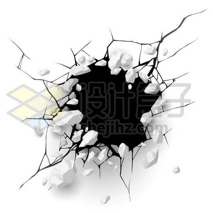 破碎石块的墙面裂纹效果9169400矢量图片免抠素材