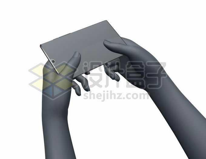 3D立体灰黑色双手捧着手机5906634矢量图片免抠素材