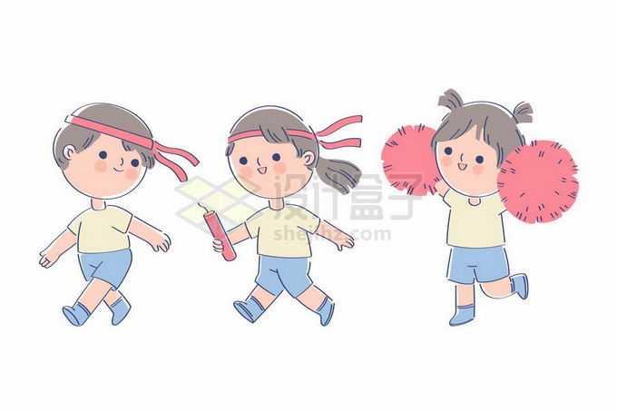 参加校园运动会接力赛的卡通小朋友和拉拉队员9771173矢量图片免抠素材