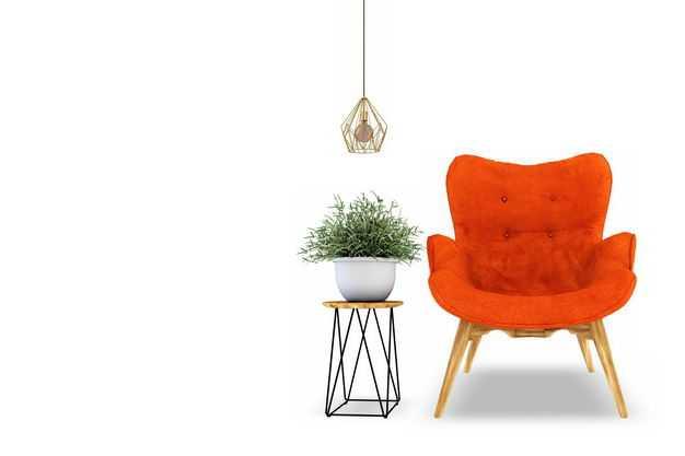红色沙发椅和简约风格的花盆和吊灯等家具3519822免抠图片素材