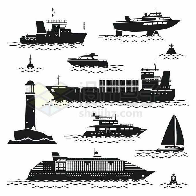 黑色插画风格海上的各种轮船快艇灯塔帆船邮轮浮标等3942858矢量图片免抠素材