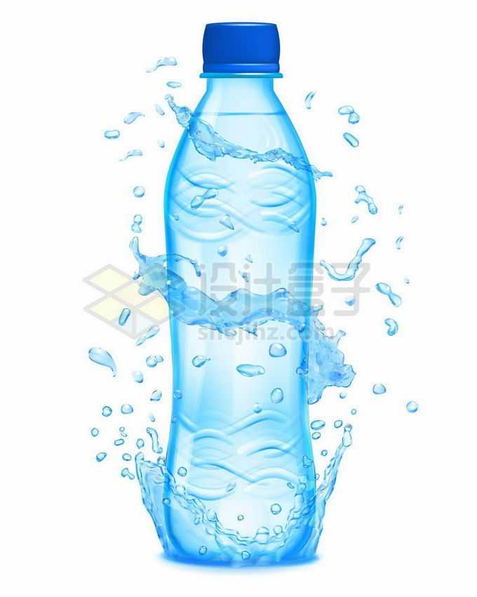 蓝色的矿泉水纯净水瓶子和飞溅起来的水花水珠水滴效果8405886矢量图片免抠素材